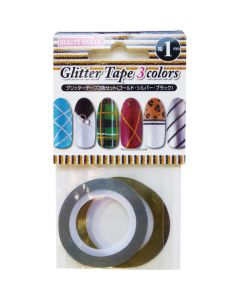 BEAUTY NAILER Glitter Tape 3 Color Set (1mm) [GT-1]