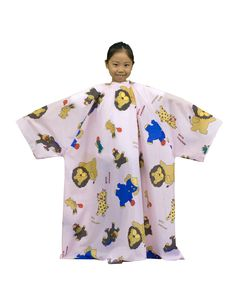 No. 7259 Children Hairdressing Cape with Sleeve [Waterproof] Pink